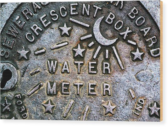 New Orleans Water Meter Cover Wood Print