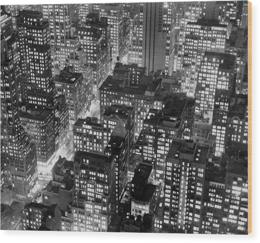 New York At Dusk From The Top Of The Wood Print