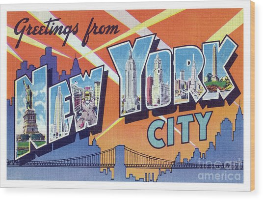 New York City Greetings - Version 2 Wood Print