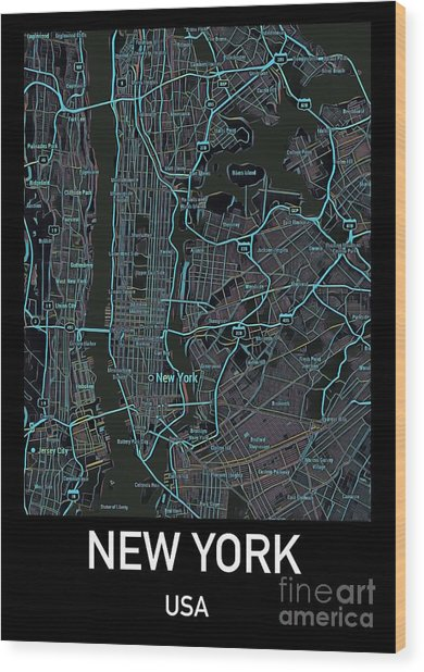 New York City Map Black Edition Wood Print