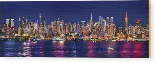 New York City Nyc Midtown Manhattan At Night Wood Print