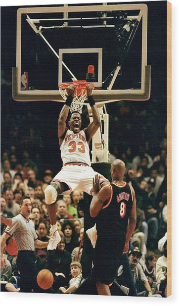 New York Knicks Patrick Ewing Does A Wood Print by New York Daily News Archive