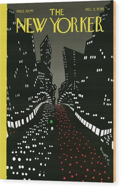 New York Lights Up Wood Print