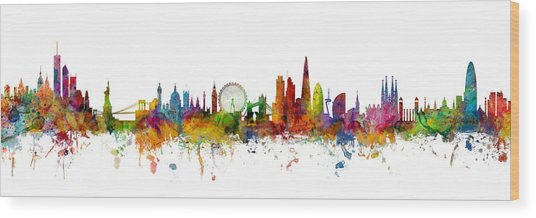 New York, London And Barcelona Skylines Mashup Wood Print