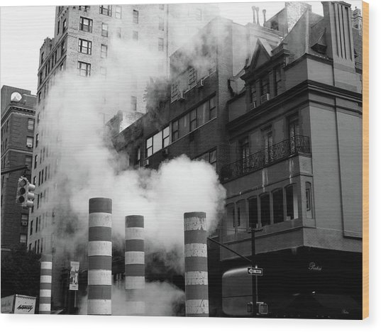 Wood Print featuring the photograph New York, Steam by Edward Lee