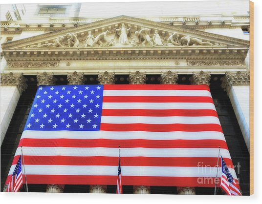New York Stock Exchange Glow Wood Print