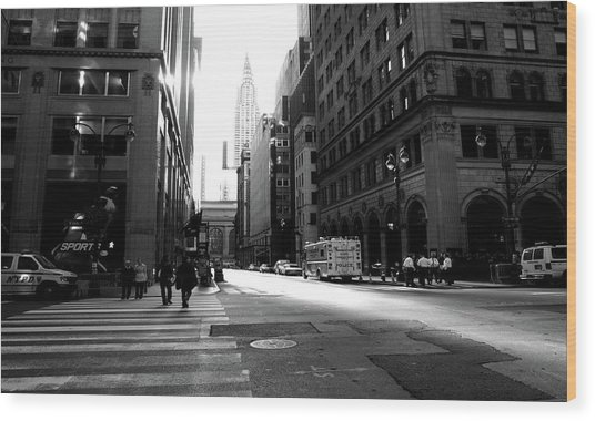 Wood Print featuring the photograph New York, Street by Edward Lee