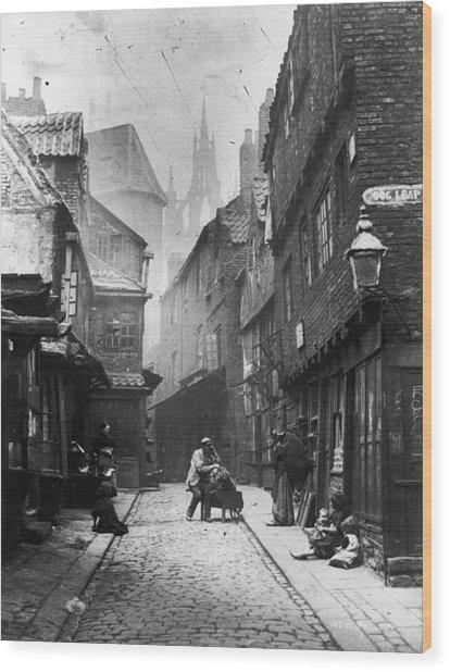 Newcastle Slum Wood Print by Lyddel Sawyer