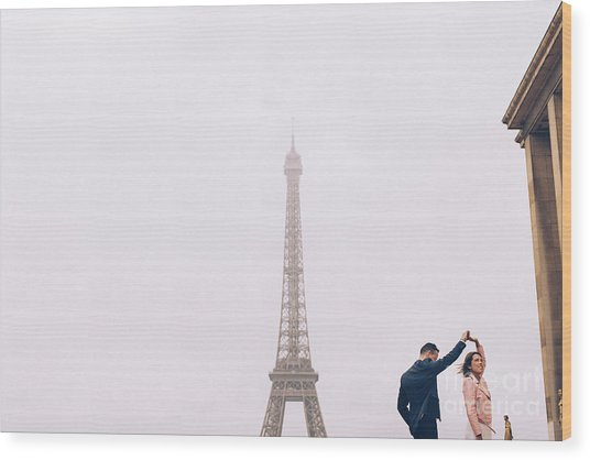 Newly-wed Couple On Their Honeymoon In Paris, Loving Having A Date Near The Eiffel Tower Wood Print
