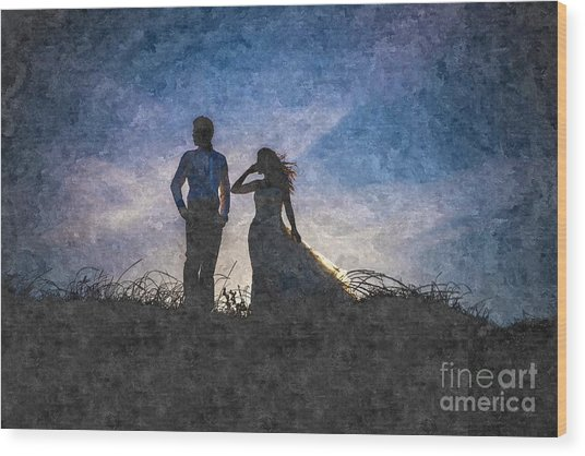 Newlywed Couple After Their Wedding At Sunset, Digital Art Oil P Wood Print