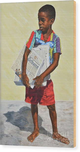Newspaper Boy Wood Print