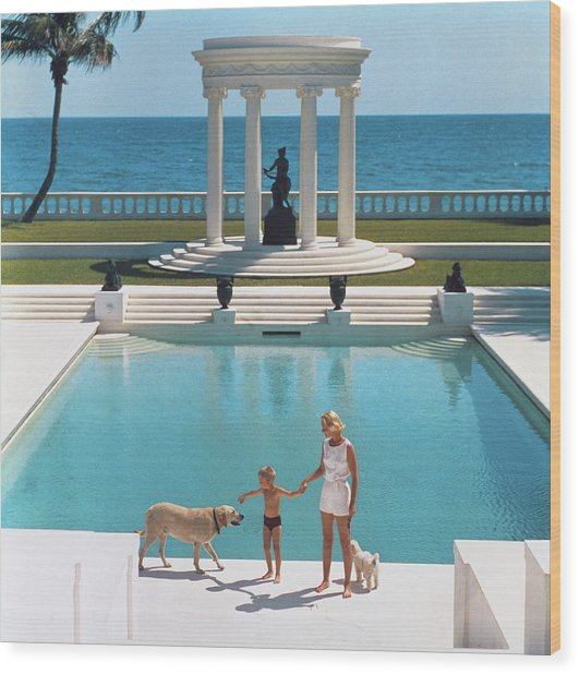 Nice Pool Wood Print by Slim Aarons