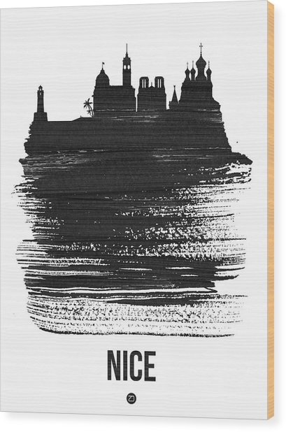 Nice Skyline Brush Stroke Black Wood Print