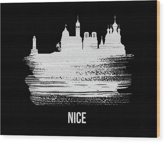 Nice Skyline Brush Stroke White Wood Print