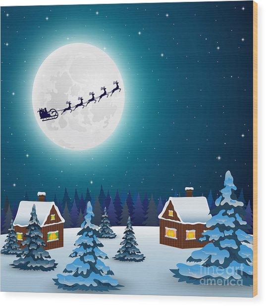 Night Christmas Forest Landscape. Santa Wood Print