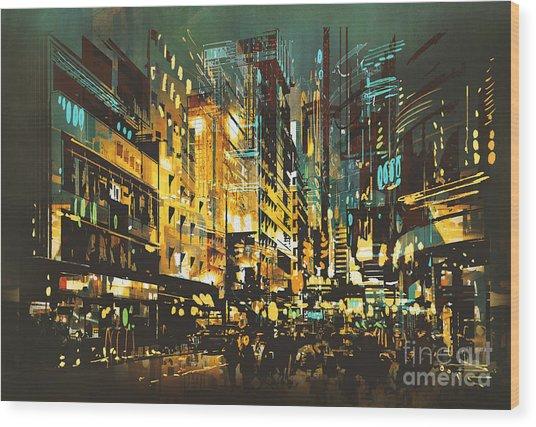 Night Scene Cityscape,abstract Art Wood Print