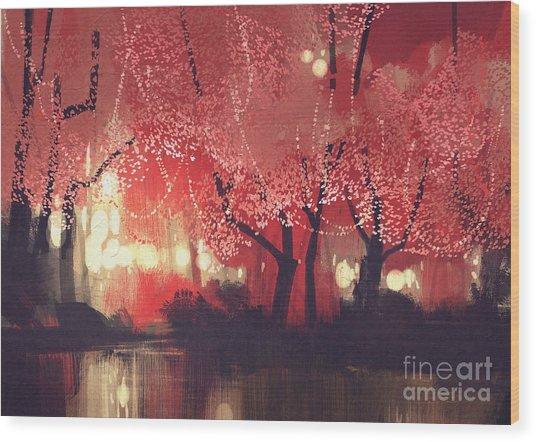 Night Scene Of Autumn Forest,fantasy Wood Print