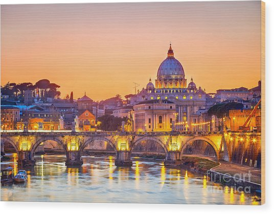 Night View At St. Peters Cathedral In Wood Print