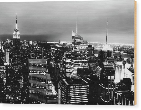 Night View Of New York Wood Print by Night View Of New York City From Rockefeller Center