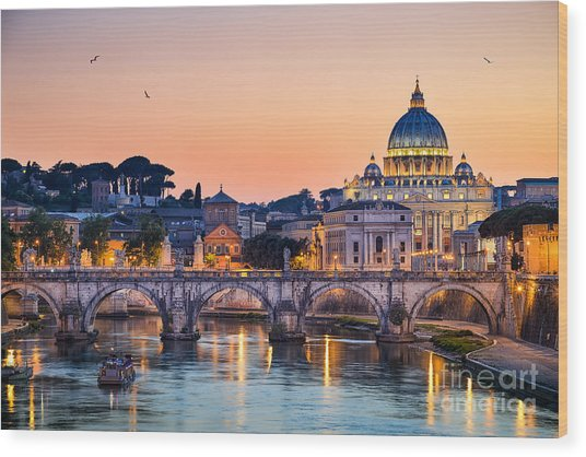 Night View Of The Basilica St Peter In Wood Print