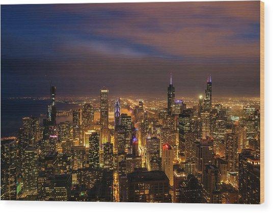 Nightfall Over Chicago Wood Print