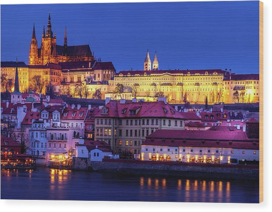 Nightfall Over Prague Wood Print by Andrew Soundarajan