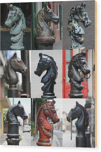 Nine Horse Head Hitching Posts Wood Print