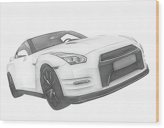 Nissan Gt-r Front Side Profile Digital Sketch Wood Print