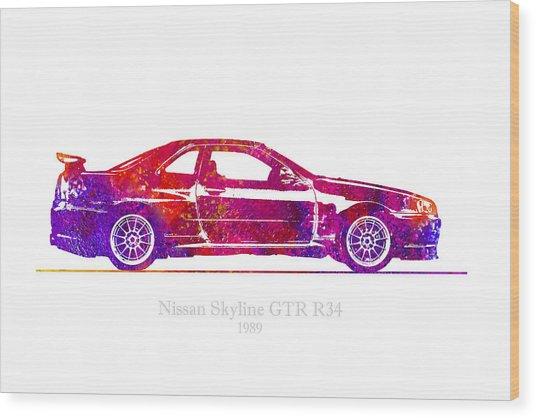 Nissan Skyline Gt-r R34 1989 Watercolor Illustration Wood Print