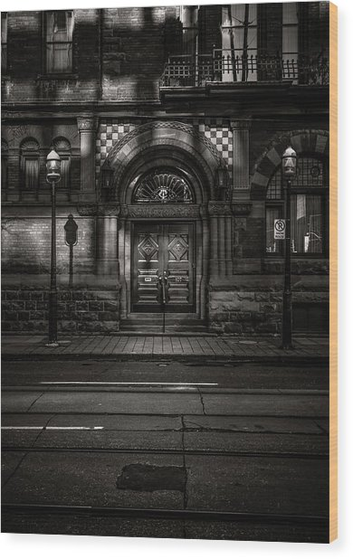Wood Print featuring the photograph No 107 Wellington St W Toronto Canada Toned Version by Brian Carson