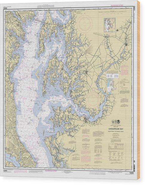 Chesapeake Bay, Cove Point To Sandy Point Nautical Chart Wood Print