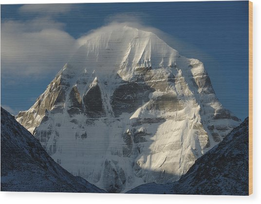 North Face Of Mount Kailash Gang Wood Print by Tcp