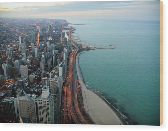North Lake Shore Drive Wood Print by By Ken Ilio