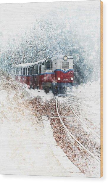 Northern European Train Wood Print