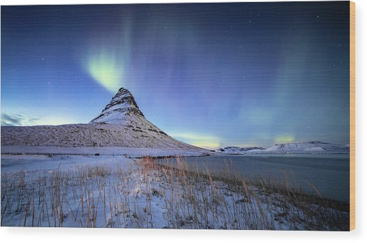 Northern Lights Atop Kirkjufell Iceland Wood Print
