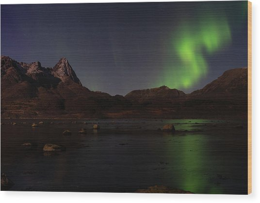 Northern Lights Aurora Borealis In Norway Wood Print