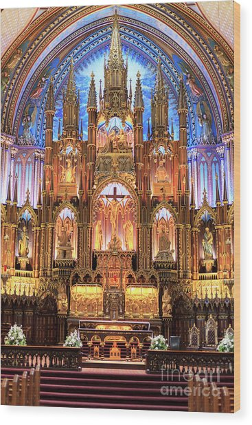 Notre Dame Interior Montreal Wood Print