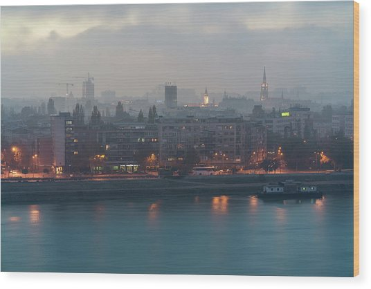 Novi Sad Night Cityscape Wood Print