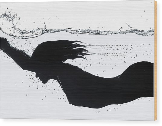 Nude Diving, Silhouette Wood Print by Udo Kilian