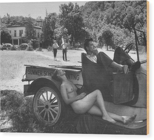 Nude Model Doris Fischer Smoking Cigaret Wood Print
