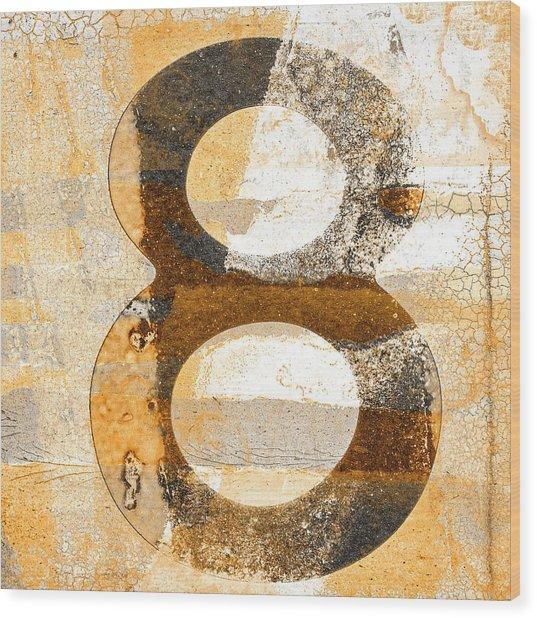 Number 8 In Sepia Brown Beige Wood Print
