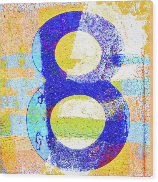Number 8 In Yellow And Blue Wood Print
