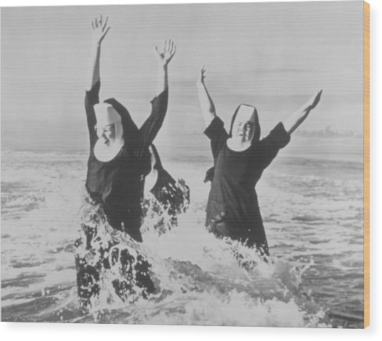 Nuns In The Surf Wood Print