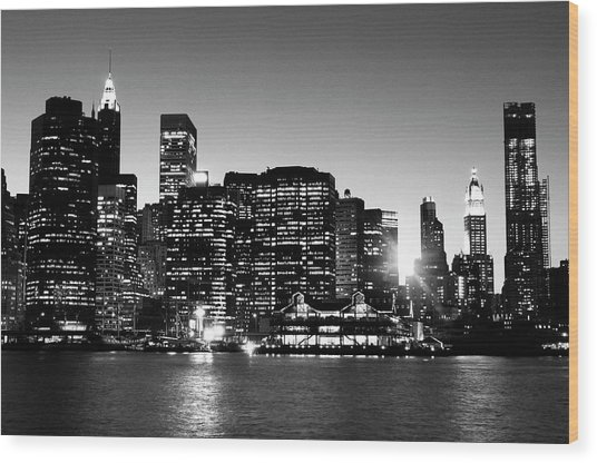 Nyc Skyline At Sunset Wood Print by Lisa-blue