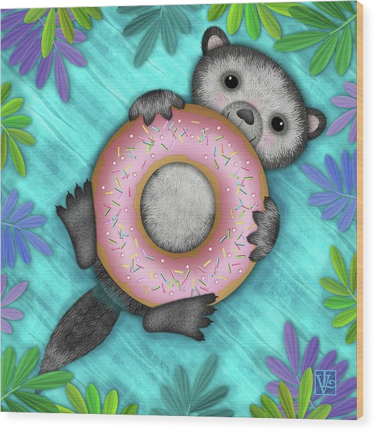 O Is For Otter With An O So Delicious Doughnut Wood Print