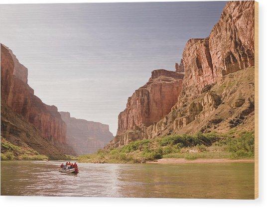 Oar Raft On Colorado River In Early Wood Print