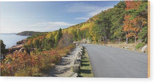 Ocean Drive Road Panorama, Acadia Wood Print