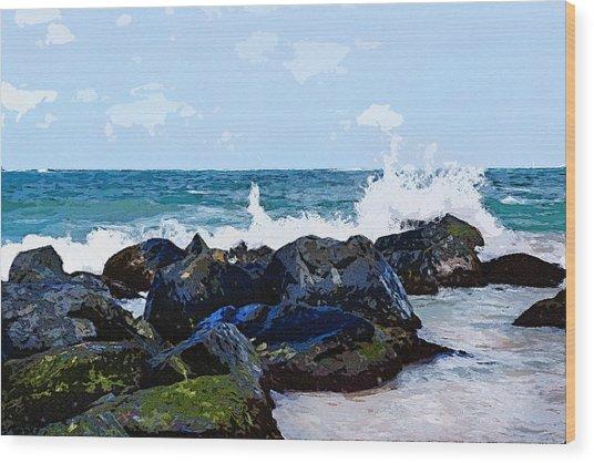 Ocean Meets The Coast Wood Print