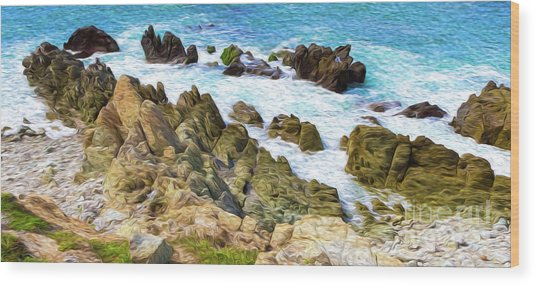 Ocean Rocks In Puerto Vallarta Mexico Wood Print