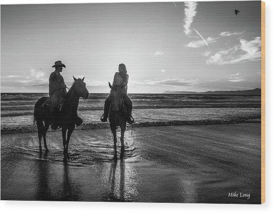 Ocean Sunset On Horseback Wood Print